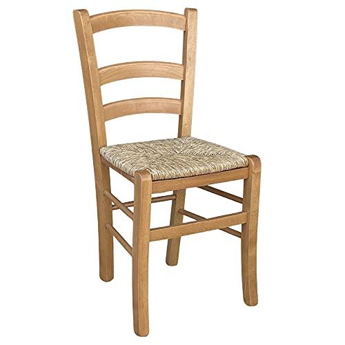 Sedia in legno venezia con seduta in paglia noce chiaro