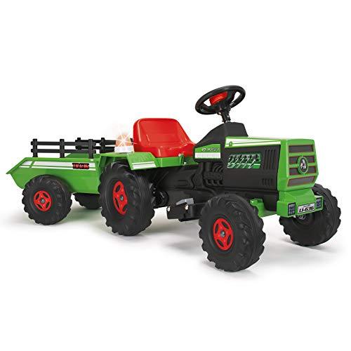 INJUSA - Tractor con Remolque para Niños 6 V, Color verde, 3+ (636)