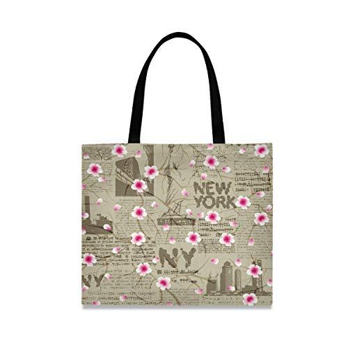 iRoad - Bolsa de lona para mujer, diseño de flor de cerezo de Nueva York