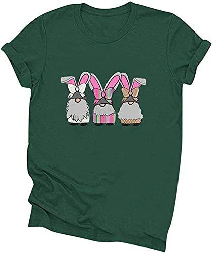 FCYOSO Happy Easter T-Shirt,Women's Short Sleeve Rubbit Egg Print Shirt G2-Green M