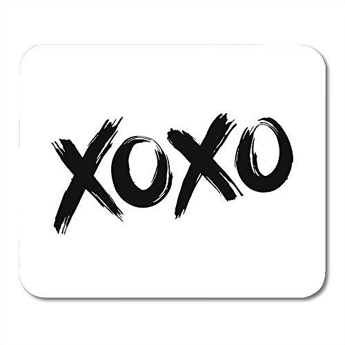 Mousepad Dag Phrase XOXO Knuffels en Kussen Zwarte Borstel Lettering op Slogan Quote Kus muismat 25X30cm