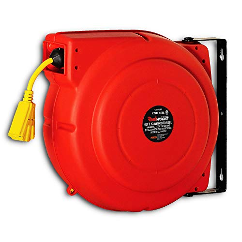 ReelWorks CR625201S3A Heavy Duty Extension Cord Reel With Swivel Bracket, 12AWG/3C SJT, Triple Tap, 65 ft.