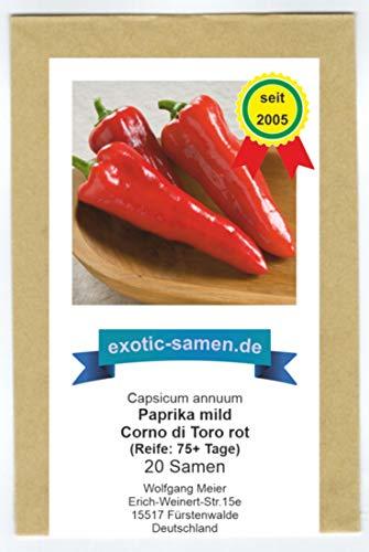 Rotes, süßes Paprika in Form eines Stierhorns - Corno di Toro rot - 20 Samen