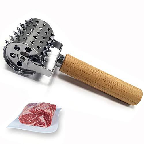 Gxhong Edelstahl Fleischklopfer, Rolling Seasoning Fleischklopfer, Schnitzelklopfer Steaker, Küchen Tenderizer, für Steak, Huhn, Fisch, Schwein