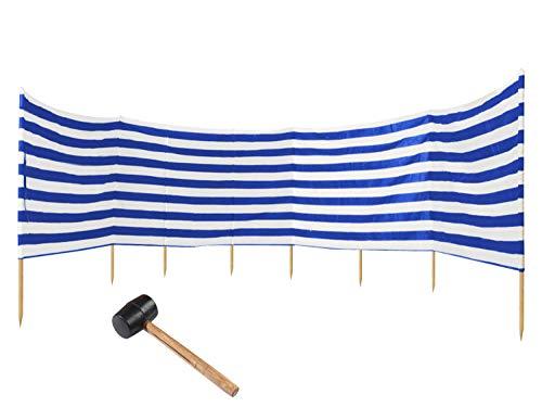 Ferocity Paravientos 10m, Protector de Vientos en la Playa o en el Acampada + Martillo de Goma Gratis !!, Rayas Blanco-Azules [120]