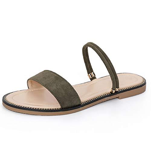 Sandalias Planas de Gamuza para Mujeres Deslizamiento de Dedo del pie Abierto en toboganes Antideslizantes Zapatillas Zapatos de Verano para Interiores al Aire Libre