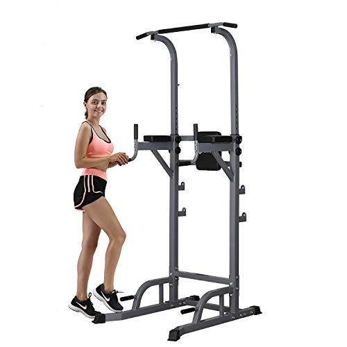 ZENOVA Power Tower Height Adjustable Dip Station - Pull Up Power Rack for Strength Training Full Body Workouts Gym Equipment