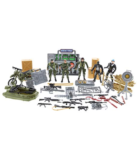 Mozlly Soldier Special Forces Action Figures & Vehicle Playset, Includes Poseable Military Toy Troopers Motorcycle Boat Weapons Tools & More for Boys Kids - Battlefield Base Army Navy Seals Theme Sets