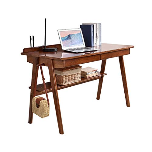 LXJ Desk, Simple and Modern Small Apartment Solid Wood Desk, Home Small Office Student Study Writing Desk, 80×40×75CM (various Styles Are Available) (Color : A, Size : 80cm single table)
