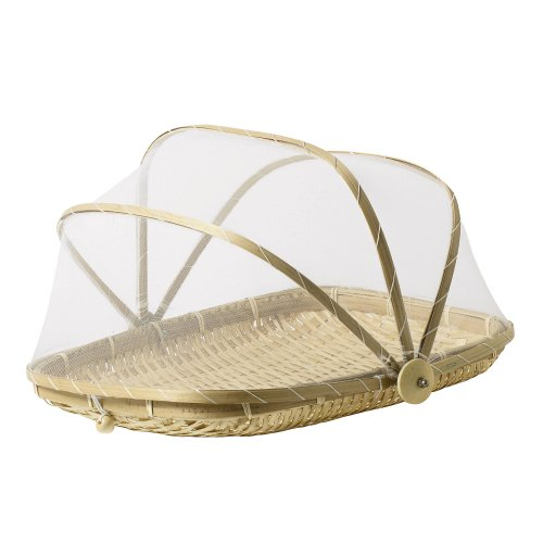 SKEMIX 13 inch Covered Rectangular Bamboo Serving Food Tent Basket