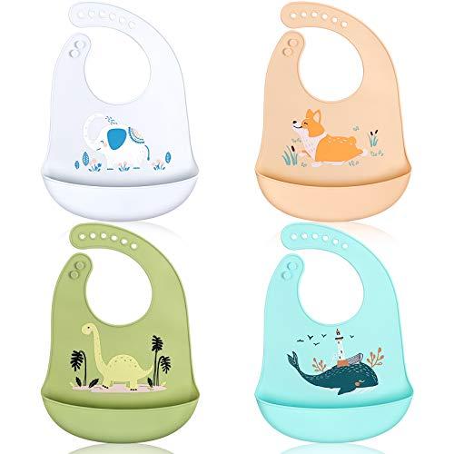 ABirdon 4 Pcs Babero Silicona Bebé, Impermeable, Fácil de Limpiar, Lavable, 6 Tamaños Ajustables Baberos de Alimentación Suave con Recolector Alimentos para Bebé Niño o Niña