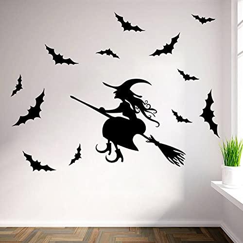 Halloween Raamstickers – Heks Vleermuis Verwijderbare Decals Voor Kinderkamer Achtergrond Muursticker, Halloween Party…