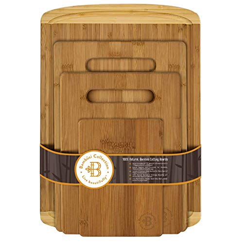 Bambüsi Bamboo Cutting Board Set - (4 Piece) Kitchen Chopping Boards with Juice Groove for Meat,...