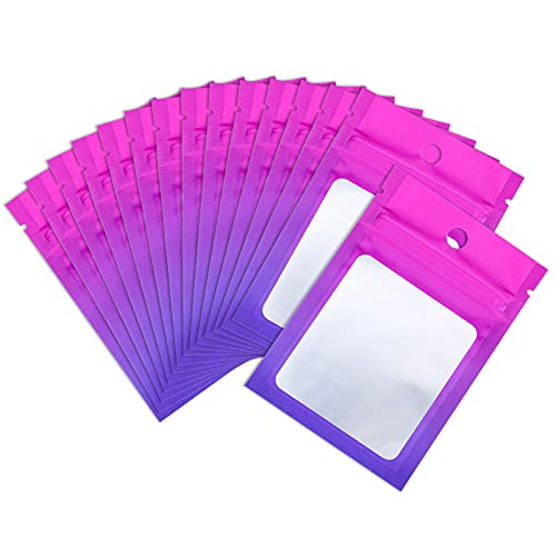 XFXIA 100 Pieces Mylar Bags, Resealable Smell Proof Bags with Ziplock and Clear Window, Flat Aluminum Foil Pouch Bag Small Cute Mini Airtight Ziplock Baggies for Candy Earring Ring Small Sample Packaging(Gradient Pink& Purple, 2.75×3.94 inches)
