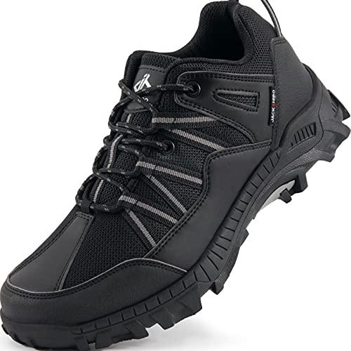 JACKSHIBO Wanderschuhe Herren Damen Outdoorschuhe Trekkingschuhe Leicht Atmungsaktiv Walking Schuhe, Schwarz 44EU
