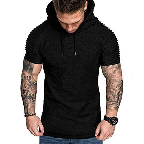Manadlian-Homme Sweat-Shirt à Manche Courte Ete 2019 Sweat-Shirt à Capuche Classique Tops Casual Survêtements Grande Taille Tops Outwear Blouse Sweat Chic M-XXXL