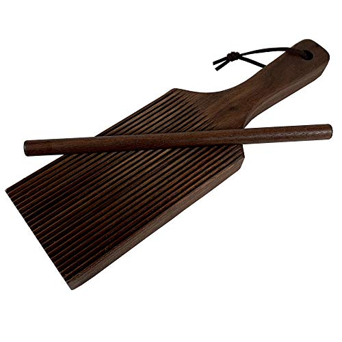 Gnocchi Board by Crafted Home Goods - Solid Wood Gnocchi Paddle with Garganelli Stick - Cavatelli Pasta Maker - Pasta Board Gnocchi Roller Plus Recipe - Hand Crafted in USA of American Grown Walnut