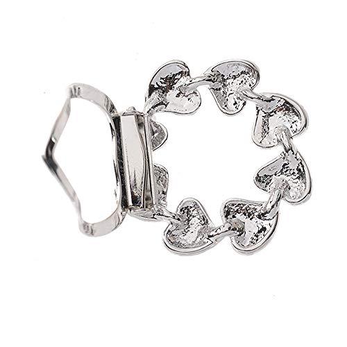 N-brand Pulabo - Broche elegante con forma de corazón, para bufanda de seda, anillo de estrás, regalo de cumpleaños para niñas, mujeres, plateado, cómodo y resistente, práctico