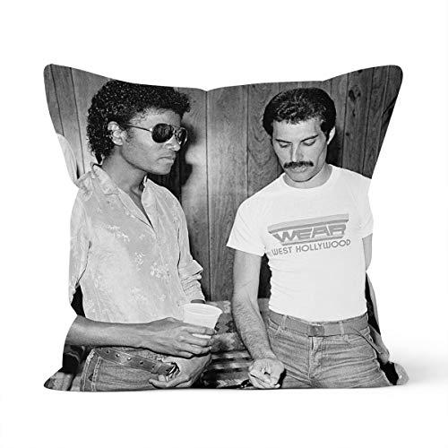 Funda de cojín decorativa de Freddie Mercury y Michael Jackson para almohada de coche, dormitorio, 40 x 40 cm