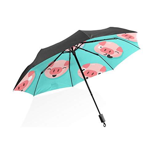 DEZIRO Cartoon Varken Gezicht Emoji Outdoor?Paraplu voor Zowel zon als regen waterdicht