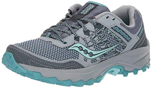 Saucony Women's Grid Excursion TR12 Trail Running Shoe, Grey/Teal, 7.5 M US
