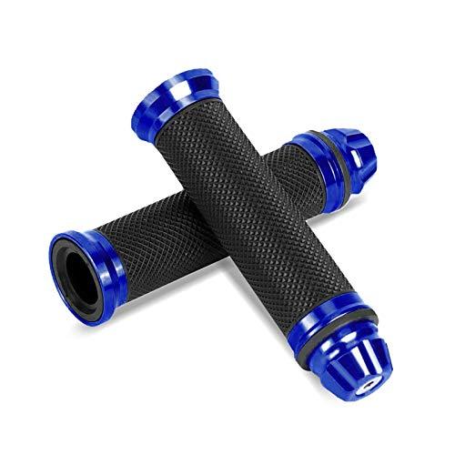 1 par de Puños para Moto Universal, Empuñaduras Antideslizante para 7/8 Manillar de Moto(Azul)