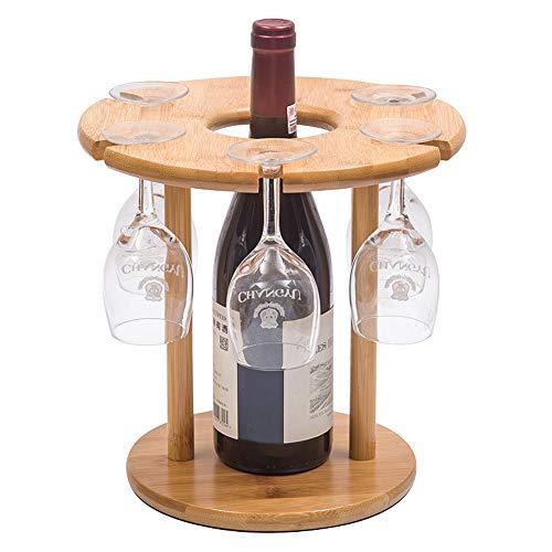 VANDA Soporte para Botellas y Copas de Vino, bambú Natural, con 6 Soportes para Copas y 1 Soporte para Botellas, Amantes del Vino o Invitados, Fiestas o Banquetes