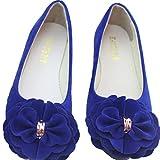 TeamWorld Flache Ballerinas für Damen, Slipper, Blumendetails, Ballerinas, Dolly, Blau - königsblau - Größe: 41 EU