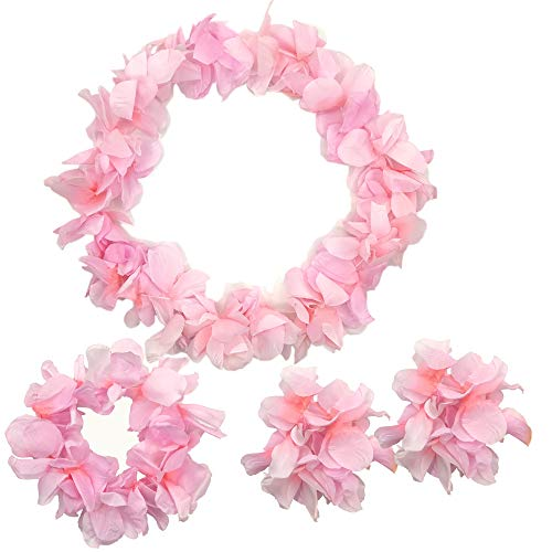 Arlai 4 Pcs set Hawaiian Leis Jumbo necklaces bracelets headband (pink)