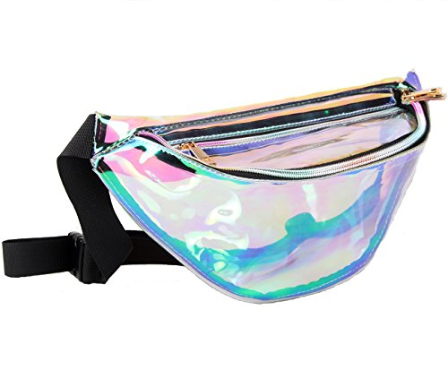 Fanny Pack for Women Holographic Fanny Pack Iridescent Cute Waist Belt Bum Bag Fashion for Rave Festival Events Games
