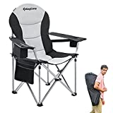 KingCamp Lumbar Support Camping Chair for Adults Heavy Duty Padded Oversized Outdoor Folding Chair with Back Support Cooler Armrest Cup Holder Side Pocket, Supports 353 lbs, Black