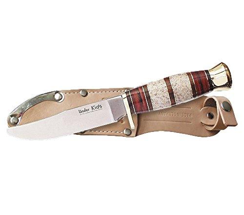 Linder Enfants Couteau Longueur de la Lame 9.6 cm, 19,5 cm, 128510 Taille Unique Pakka rötlich/Corian 9cm