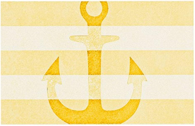KESS InHouse MS2064BDM02 Monika Strigel Stone Vintage Anchor Yellow Mustard White Dog Place Mat, 24  x 15