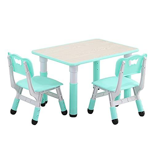 Juego de mesa y silla para niños, mesa y silla de estudio para niños ajustable en altura, escritorio de graffiti con 2 sillas, mesa de juego antideslizante, mesa de dibujo para niños de 3 a 14 añ