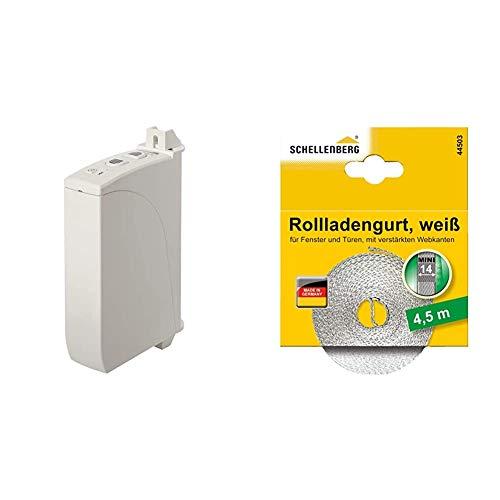 Schellenberg 22735 Elektrischer Gurtwickler Aufputz RolloDrive 35, bis 4 m² Rollladenfläche, für 14 bis 15 mm Gurtbreite, Zugkraft 12 kg, mit Zeitautomatik & 44503 Rollladengurt 14 mm x 4,5 m