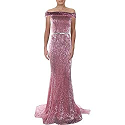 Rose Sequined Off The Shoulder Mermaid Sweep Train Dress