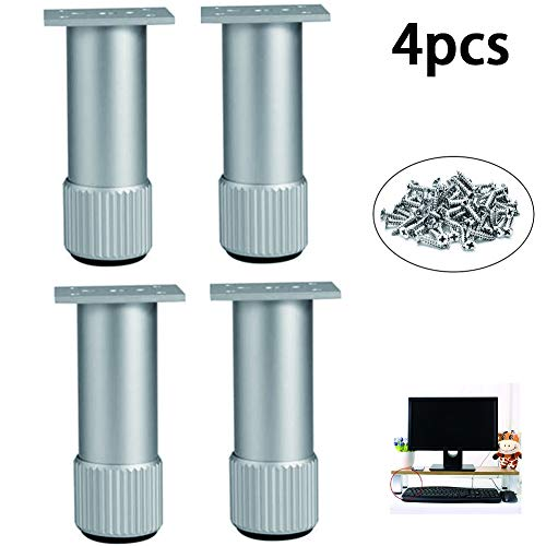 4 Sets Van Aluminiumlegering Kabinet Voeten Met 38Mm Breed Vierkante Kast Voet 6-40Cm Hoge Cilindrische Steunpoten Voor TV-Meubel Koffietafel Sofa Kast Bed,35cm