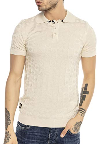 T-Shirt Poloshirt Herren Kurzarm Strick Cross Line Beige S