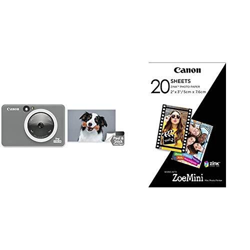 Canon Ivy CLIQ 2 Instant Camera Printer, Mini Photo Printer, Charcoal (Matte) with Zink 20 Sheet Photo Paper Pack