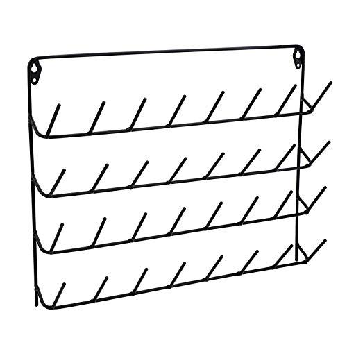 Rejilla para hilo de coser Soporte para hilo de 32 carretes Rejilla de metal de pared con abrazaderas de carrete para organizar hilo de coser, herramienta de bordado,...