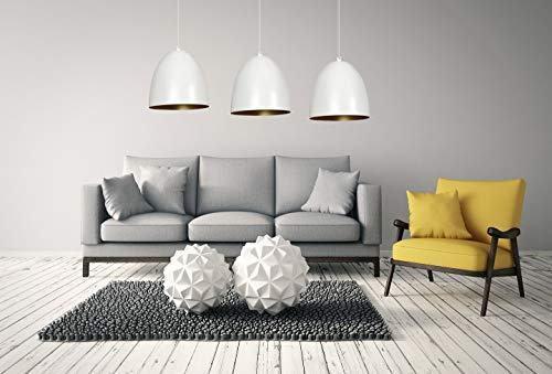Hängelampe Retro Stil Weiß Gold Chrom verstellbar bis 1m 3x E27 Pendelleuchte Wohnzimmer Esstisch