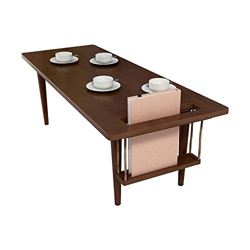 WoodShine Mid Century Modern Mini-Swing Coffee/Tea Table, Japanese Accent Floor Desk, Fresh Trapezoidal Table-Shape's Solid Rubber Wood Furniture, Walnut Color and Length of 47.25 inch