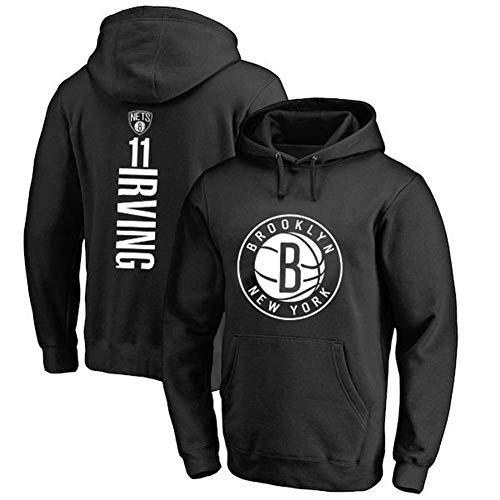 Fans Jersey Basketball Hoodie NBA Brooklyn Nets 11 Kyrie Irving Maglie Felpa Pullover Con Cappuccio All-star Da Allenamento Casual Confortevole,Black(A)-M