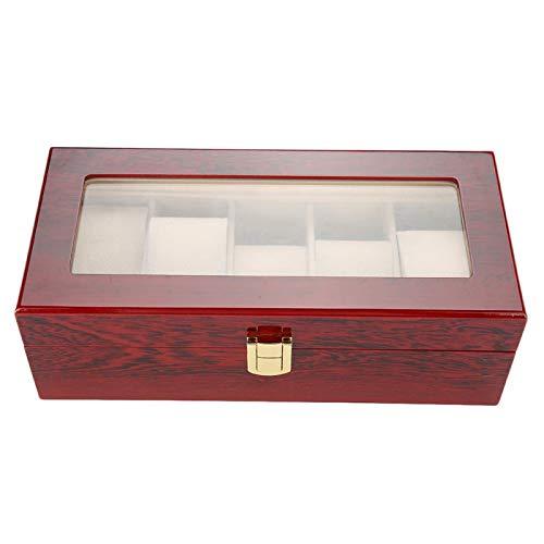 Caja de reloj de madera lacada blanda con 5 rejillas, roja, para exhibir