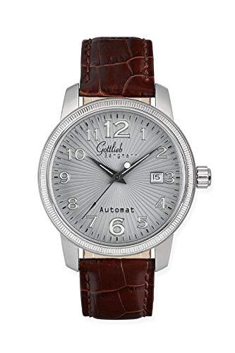 Originele Gottlieb Bergmann horloge heren automaat bruin leer automatisch horloge roestvrijstalen behuizing glazen bodem Bauhaus modieus elegant klassiek design tijdloos unisex direct van de fabrikant