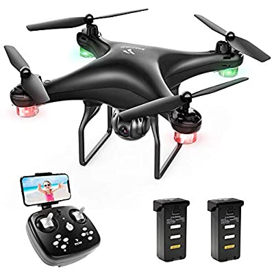 SNAPTAIN SP600 WiFi FPV Drone with 720P HD Camera, Two 1600mAh Modular Battery, Voice Control, Gesture Control, Gravity Control, Altitude Hold, Headless Mode, One Key Take Off/Landing