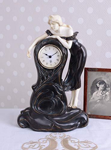 Figürliche Kaminuhr im Jugendstil Tischuhr Frauenfigur Nymphe IS231 Palazzo Exklusiv