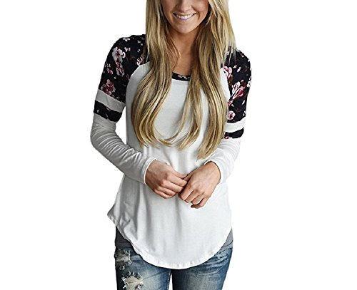 Womens Long Sleeve T-Shirt Ladies Round Neck Casual Party Loose Floral Tops Blouse (M)