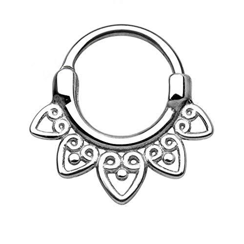 Gekko Body Jewellery Tribal Fan 316L Surgical Steel Round Septum Clicker...