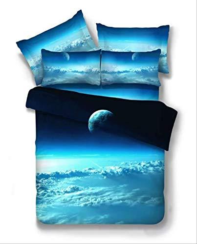 KJHYUI 3 Piezas 3D Galaxy Juegos De Cama Universo Espacio Exterior Colcha Temática Ropa De Cama Sábanas Funda De Almohada Juego De Funda Nórdica 135×200CM A